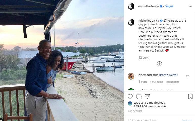 El posteo de Michelle Obama en su cuenta de Instagram, por los 27 años de matrimonio con Barack.